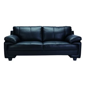 MARZIO Sofa Da 3 Chỗ 190x88x88 cm Màu Đen