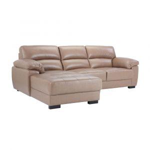 MORETTO Sofa Góc Da 256x165x92 cm Màu Nâu Nhạt