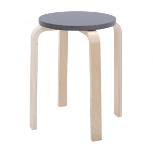 H-BELLA/P Bentwood round stool NT/GY