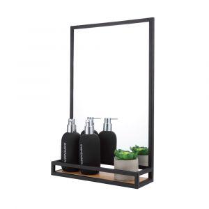MLAN Wall mirror with shelf BK