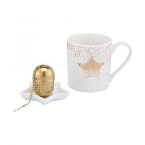 LUCI Mug+Tray+Infuser 3pcs/set WT/GD