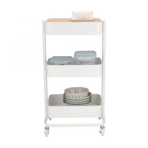ELLO 3-Tier storage cart 43x35x78 WT/BN