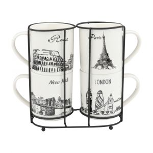 CANTRY Mug 285ml+stand 5pcs/set WT/BK