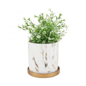 HARVEY Marble plant pot D14xH14 WT/GD